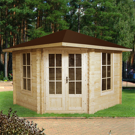 gartenhaus 5 eck blockhaus ger tehaus holz 300x300 28mm. Black Bedroom Furniture Sets. Home Design Ideas