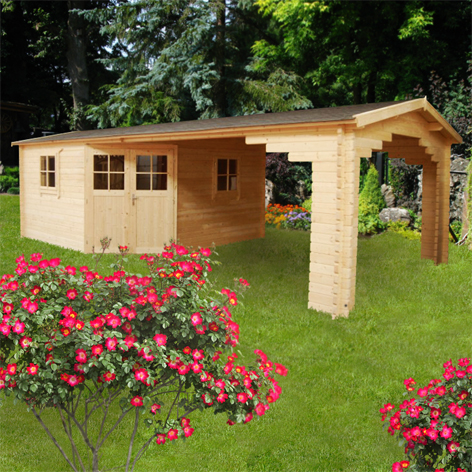 5 eck gartenhaus aus holz mit vordach 283935. Black Bedroom Furniture Sets. Home Design Ideas