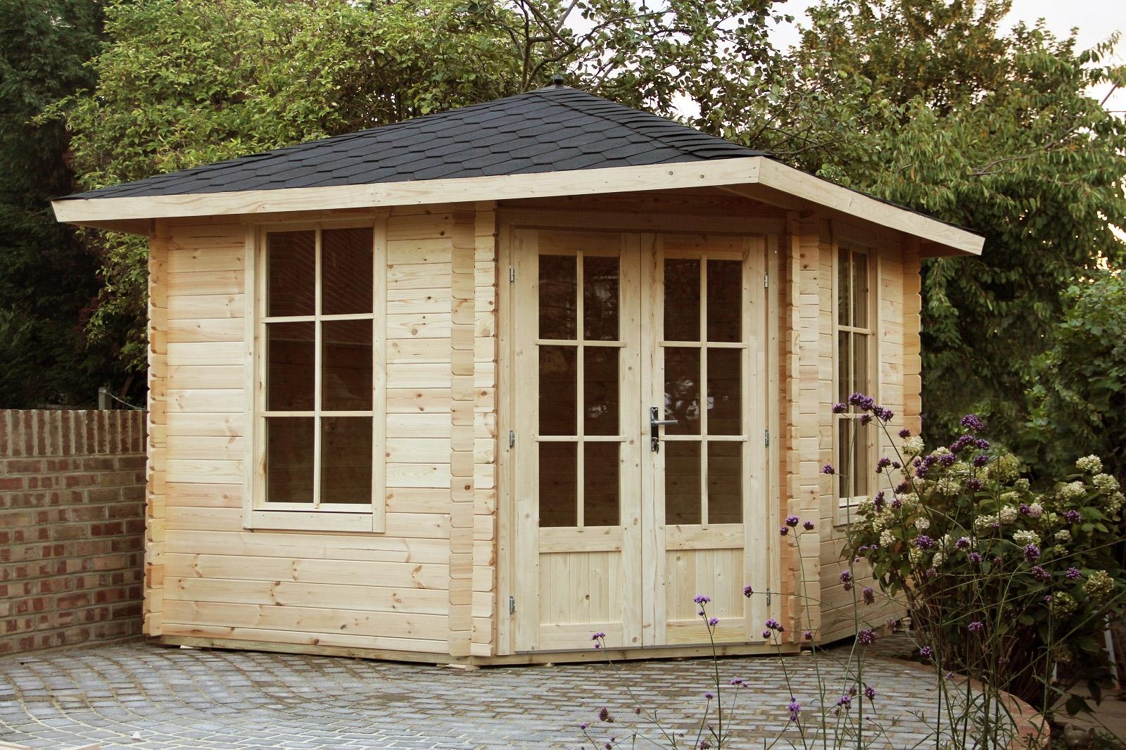 Gartenhaus (5-eck) Blockhaus Gerätehaus Holz 300x300, 28mm ...