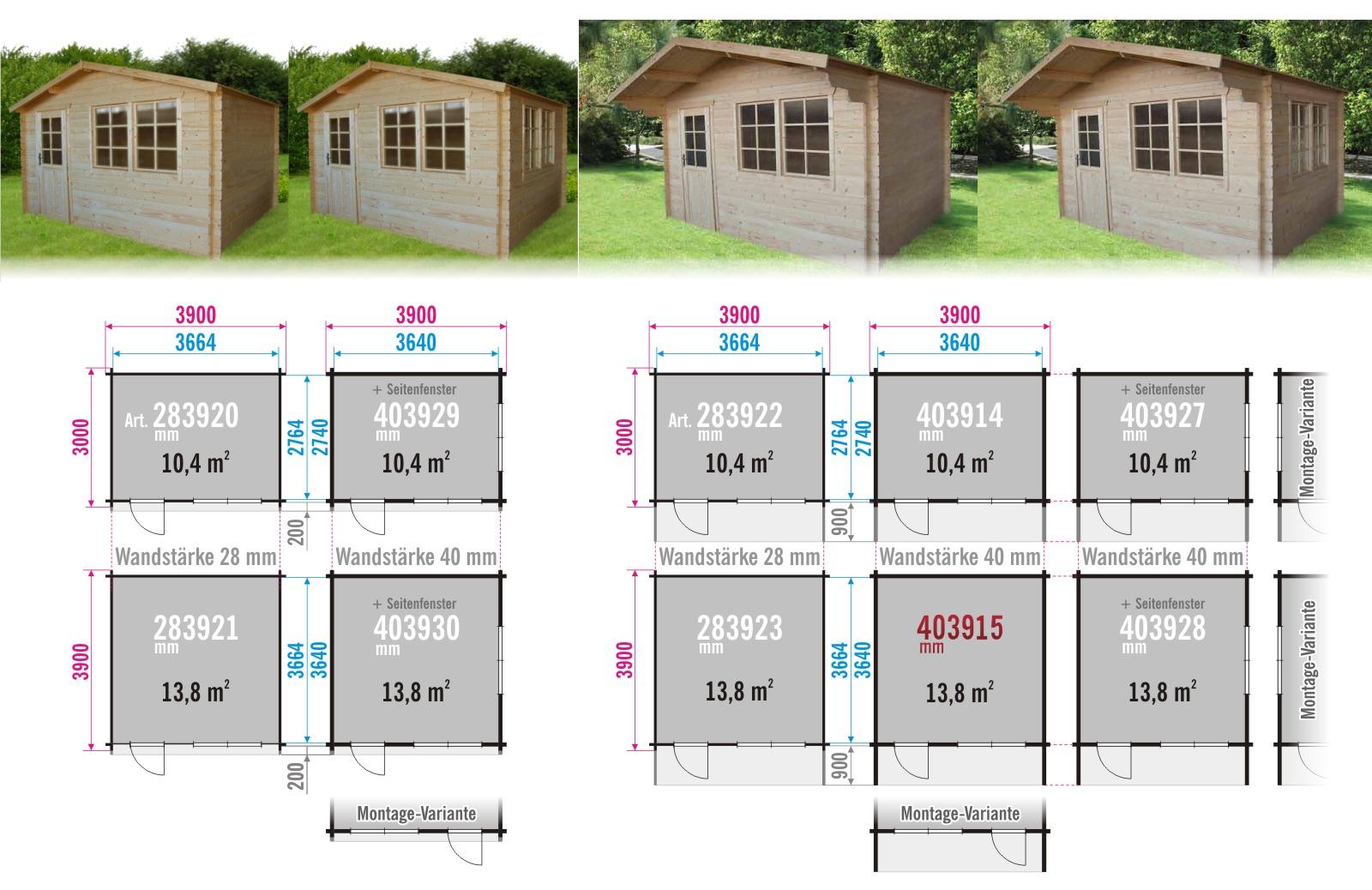 gartenhaus 403915 390x390cm 40mm. Black Bedroom Furniture Sets. Home Design Ideas