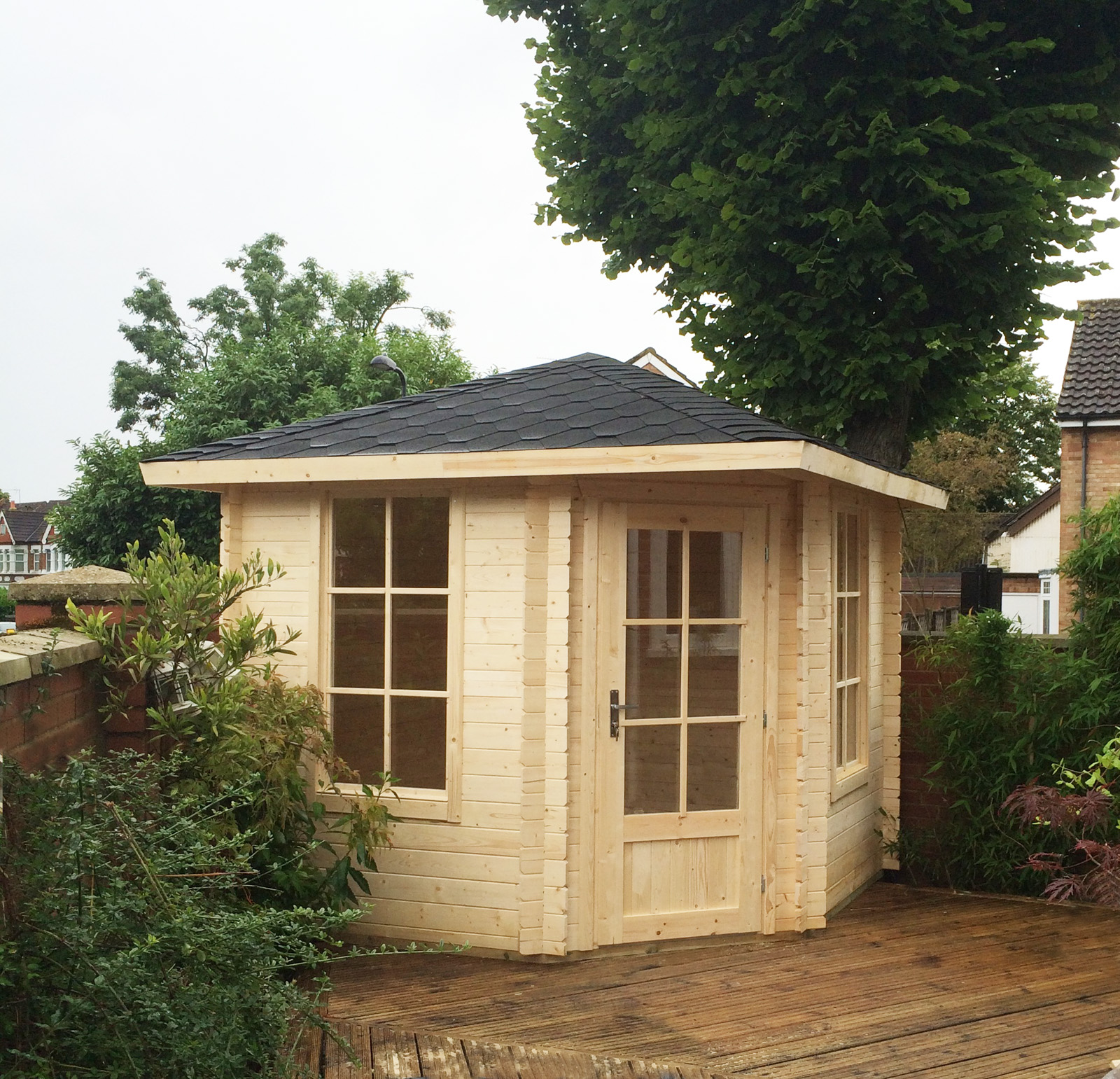 gartenh user eck gartenhaus 5 eck 403921 260x260cm 40mm. Black Bedroom Furniture Sets. Home Design Ideas
