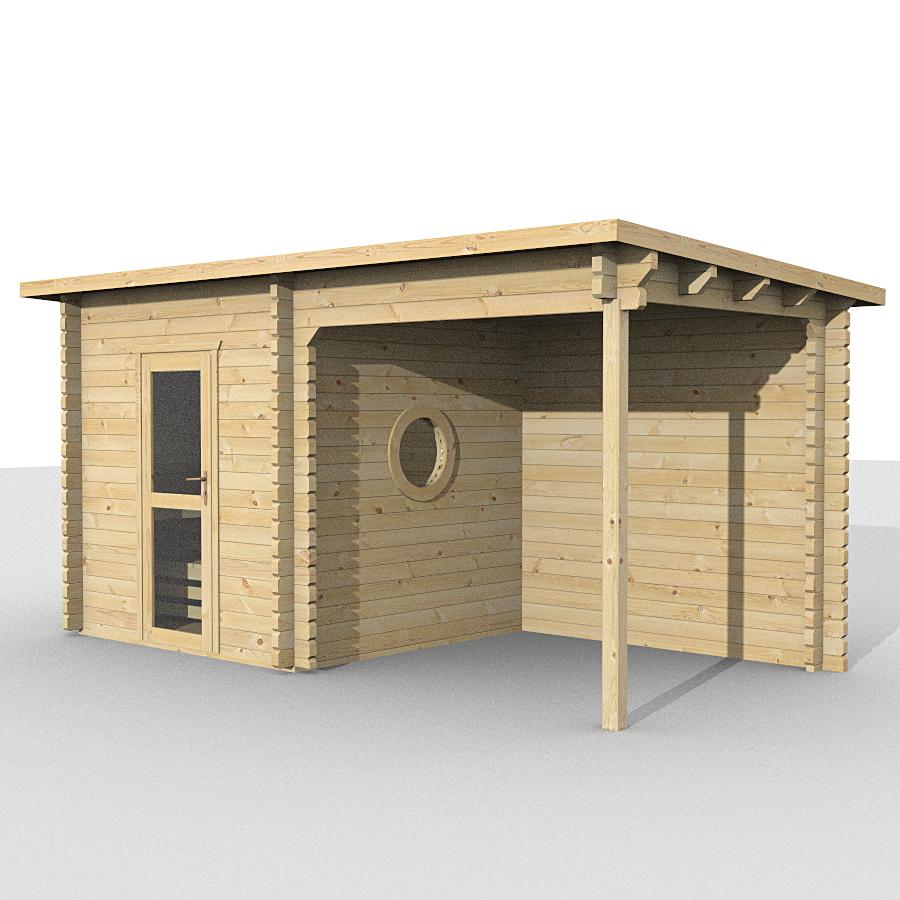 gartenh user gartenhaus nach mass sauna mit unterstand 584216 500x259cm 58mm. Black Bedroom Furniture Sets. Home Design Ideas