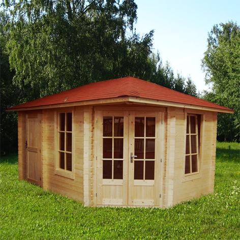 gartenhaus 5 eck blockhaus ger tehaus holz 450x300 40mm 40399. Black Bedroom Furniture Sets. Home Design Ideas