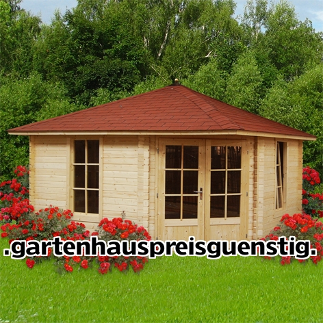 gartenhaus 5 eck blockhaus ger tehaus holz 400x400 40mm 40398. Black Bedroom Furniture Sets. Home Design Ideas