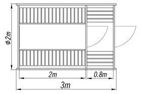 Saunafass 2+0.8m, Model Plan