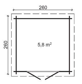 Gartenhaus 260 x 260 cm, 28 mm