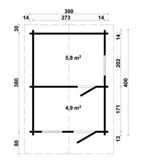 Saunahaus 375858, 300x400cm, 58|70mm